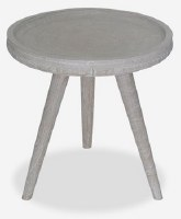 "20"" Round Whitewash Wood Three Legged End Table"