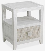 "20"" Whitewash Drawer End Table"