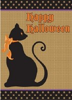 "18"" x 13"" Mini Burlap Happy Halloween Cat Garden Flag"