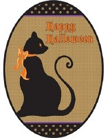 "19"" x 14"" Oval Burlap Happy Halloween Cat Door Banner"