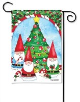 "18"" x 12"" Mini Gnomes and Tree Garden Flag"