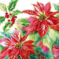 "5"" Square Red and Gold Poinsettia Paper Beverage Napkins"