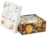 "5"" Box of Square Give Thanks Paper Beverage Napkins"
