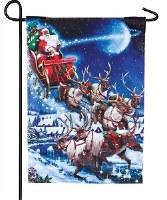 """18"""" x 13"""" Mini LED Santa Christmas Eve Garden Flag"""