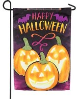 "18"" x 13"" Mini LED Happy Halloween Jack O Lanterns Garden Flag"