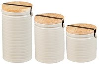 "6"" Round Set of 3 Ivory Ceramic Canisters With Wood Lids"