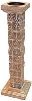"""21"""" Whitewash Triangle Textured Wood Pillar Holder"""