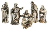 Set of 6 Silver and Gold Nativity Scene