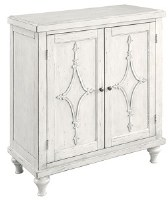 """35"""" Distressed White Finish Cabinet With Two Diamond Designed Doors"""