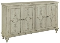 "66"" Distressed White Finish Credenza With Four Diamond Designed Doors"