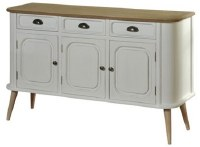 "49"" Distressed White and Brown Finish Wood Drawer Credenza"