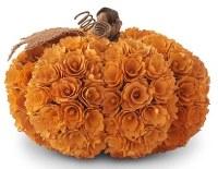 "10"" Orange Shaved Wood Pumpkin"