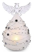 "6"" LED Frosted and Silver Glass Angel"