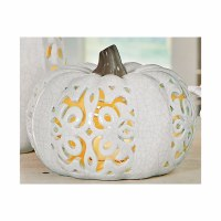 "4"" White Crackle Openwork Ceramic Pumpkin"