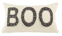 "12"" x 20"" Cream and Black Washed Boo Pillow"