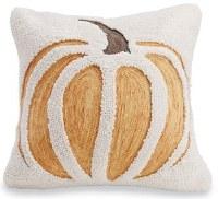 "16"" Square White Wool and Orange Yarn Pumpkin Pillow"