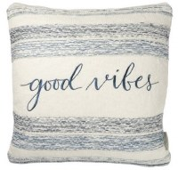 "18"" Square Blue and White Good Vibes Pillow"