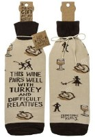 """11"""" Wine Pairs With Difficult Relatives Bottle Cover"""