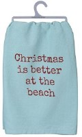 "28"" Square Christmas is Better at the Beach Kitchen Towel"
