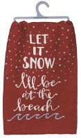 "28"" Square Red Let it Snow Kitchen Towel"