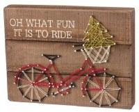 "9"" x 12"" Christmas Bike String Art Plaque"