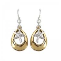 Silver and Gold Starfish Teardrop Earrings