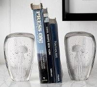 "6"" Clear Glass Jellyfish Bookends"