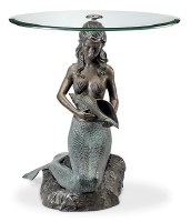 "22"" Round Verdigris Mermaid End Table"