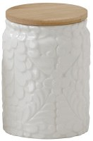 """7"""" White Ceramic Floral Canister With Wood Lid"""