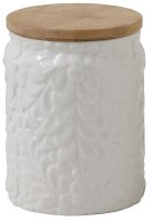 """5"""" White Ceramic Floral Canister With Wood Lid"""