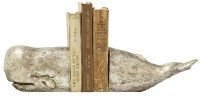 """5"""" Distressed Silver Finish Whale Bookends"""