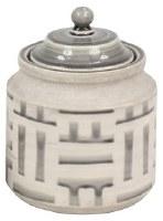 """9"""" Gray and White Ceramic Jar"""