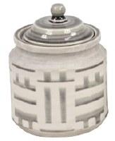 """8"""" Gray and White Ceramic Jar"""