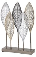 "18"" Silver, Gold and Black Leaves Sculpture"