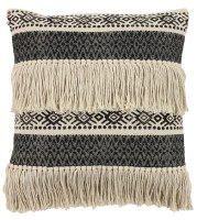 """20"""" Square Black and Natural Pattern Pillow With Tassels"""