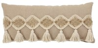 """14"""" x 30"""" Rectangle Natural Woven Pillow With Tassels"""