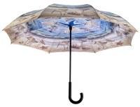"42"" Blue and Tan Beach Scene Reverse Umbrella"