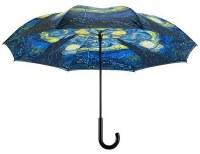 "42"" Black, Blue and Yellow Starry Night Reverse Umbrella"