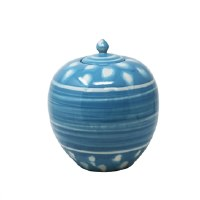 """10"""" Blue and White Dotted Ceramic Jar"""