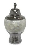 "16"" Silver and Capiz Ceramic Jar"