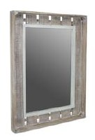 """30x22"""" White Washed and Brown Wood Slat Mirror"""
