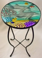 "12"" Round Glass Dolphin Paradise Glass Table"