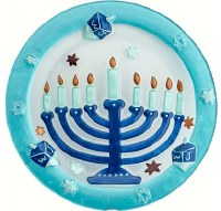 "12"" Round Glass Menorah Platter"