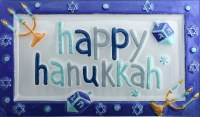 "8"" x 14"" Blue Glass Happy Hanukkah Platter"