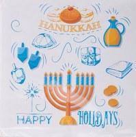 "5"" Square White, Orange and Blue Hanukkah Beverage Napkins"