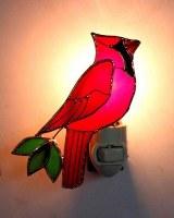 "4"" Red Glass Cardinal Night Light"