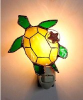 "6"" Yellow and Green Glass Sea Turtle Night Light"