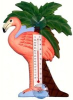 "7"" Flamingo and Palm Window Thermometer"