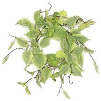 """6"""" Opening Faux Sage Elm Leaf Candle Ring"""