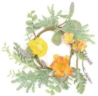 """4.5"""" Opening Faux Gold and Orange Ranunculus Candle Ring"""